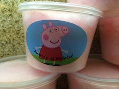 Peppa pig cotton candy tubs / party favors by TheCandyBarn on Etsy, $33.00