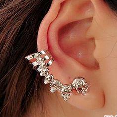 Barato Lm c123 liga clipe de ouvido ear cuff de crânio com brinco banhado, Compro Qualidade Brinco de brilhante diretamente de fornecedores da China:                         OEM é aceito                  Somente quan