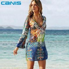 8d59126dc2e Sexy Swimsuit Cover Up Long Sleeve Bikini Cover Ups Chiffon Flower Beach  Mini Dress