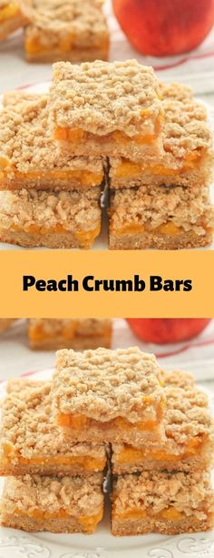 Peach Crumb Bars #dessert#bars Cookie Desserts, Sweet Desserts, Cookie Recipes, Delicious Desserts, Yummy Food, Dessert Bread, Dessert Bars, Fruit Recipes, Dessert Recipes