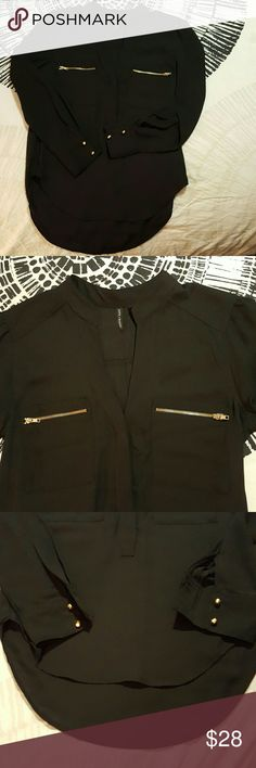🌺SALE!  Black Light weight blouse Classy yet simple light weight black blouse with gold zippers and buttons. Buttons half way down for optional styling. Slightly longer in the back. Like new! Tops Blouses