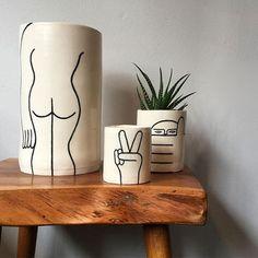 Really loving the work of Louise Madzia on her Ceramic Pottery, Ceramic Art, Deco Bobo, Tassen Design, Painted Plant Pots, Pottery Painting Designs, Keramik Vase, Modern Ceramics, Flower Pots