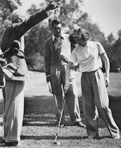 "Howard Hawks directs Cary Grant and Katharine Hepburn between scenes of ""Bringing Up Baby"" (1938)"