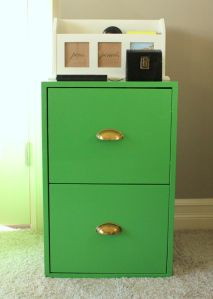 Green painted file cabinets, home office organization, bright color pop, reuse, repurpose, trendy, stylish and fun, office redesign.