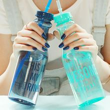 2016 New Fashion 650ml Unbreakable Water Bottle Creative Portable Sports Bottle With Straw Plastic Cup(China (Mainland))