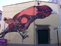 """Adega dos Passarinhos"", Setúbal, Portugal Portugal, Street Art, Moose Art, Coast, Bird, Photography, Riddling Rack, Little Birds, City"