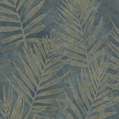 ARB67538 Blue Leaves - Grand Palms - Arbor Rose Wallpaper by Warner Studios