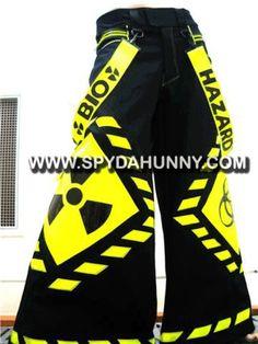 Black and Yellow Bio-Hazard Pants Gothic Fashion, Fashion Art, Fashion Outfits, Fashion Clothes, Scene Girl Fashion, Vetement Hip Hop, Rave Pants, Pantalon Cargo, Future Clothes