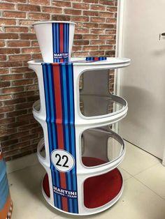 Garage Furniture, Car Part Furniture, Barrel Furniture, Metal Furniture, Barrel Projects, Metal Art Projects, Car Shed, Metal Barrel, Martini Racing