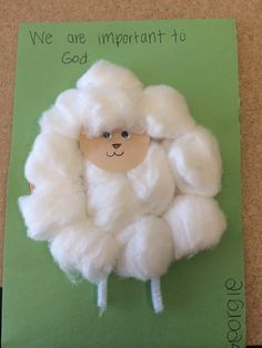 Little lamb craft with the preschoolers.  Sunday school craft!