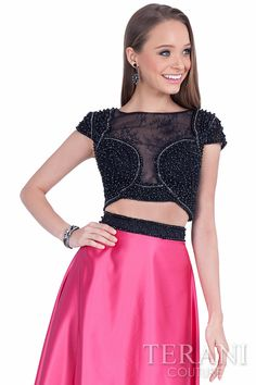 Terani Couture sequin and lace embellished crop sleeve top top and A-line satin finish skirt Style: 1612P1047 #prom #promdress #pinkandblack #longdress #twopiece #beadedtop #prom2016 #prom2k16 #longpromdress #promgown #terani #teranicouture