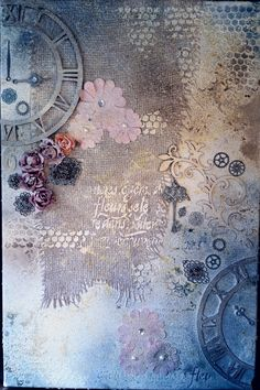 """Mixed media on canvas - """"Clock is ticking"""" Mixed Media Canvas, Mixed Media Art, Medium Art, Vintage World Maps, Clock, Painting, Watch, Paintings, Mixed Media"""