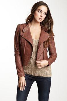 BB DAKOTA Marely Leather Asymmetrical Zip Jacket
