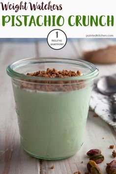 This 3 ingredient Pistachio Crunch is just 3 Smart Points on Weight Watchers Fre. This 3 ingredient Pistachio Crunch is just 3 Smart . Weight Watcher Desserts, Weight Watchers Snacks, Plats Weight Watchers, Weight Watchers Meal Plans, Weigh Watchers, Weight Watchers Smart Points, Weight Loss, Losing Weight, Sweets