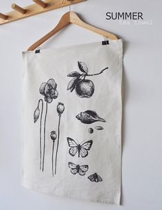 original drawing in a dark grey ink on 55% hemp and 45% organic cotton fabric- hanging hook on corner - this is a a strong absorbent towel.