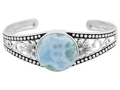 Caribbean blues...I love you...xo    Round Cabocon Larimar Sterling Silver Cuff 7