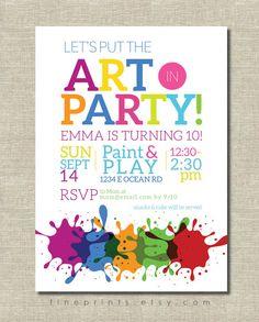Art Painting Birthday Invitations Paintings Birthdays and Art party