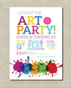 art party invitation / painting party / art birthday by FinePrints More