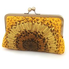 Sunflower clutch silk-lined purse with gift box
