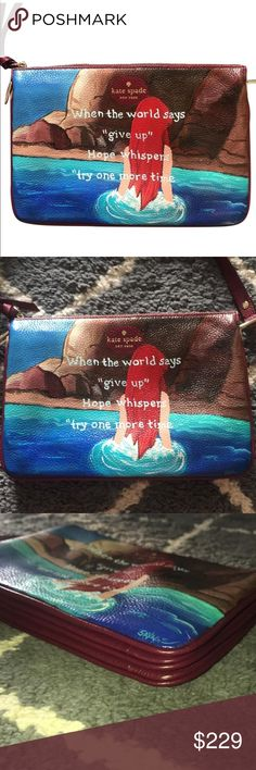 Personalized Kate Spade x Ariel crossbody bag This is an authentic KATE SPADE bag similar to the Ivy Place- Gabriella  Painted with Little Mermaid and a quote. The water below Ariel's hair have glitter and it shimmers beautifully.   It's a one-of-a-kind bag    The bag: Soft leather and gold-tone hardware give this kate spade new york handbag a refined look.   The top zip opens to a lined interior with 3 compartments  Adjustable shoulder strap.   Leather  Approximate measurements: 6.75in H x…
