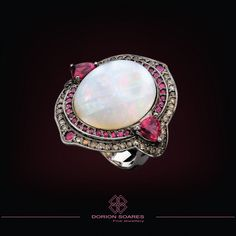Dorion Soares White Opal Ring with rubies and diamonds in a white gold setting, Brazil