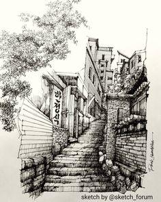 Ink Pen Drawings, Sketchbook Drawings, Art Sketches, Sketchbook Ideas, Landscape Sketch, Landscape Drawings, Urban Landscape, Cityscape Drawing, City Drawing