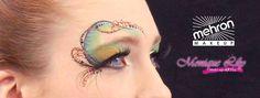 Monique Lily's eye design Mehron paradise makeup AQ white, dijon, olive, black  - celebre precious gem powder Topaz, Turquoise - Paradise Detailz black  - Mehron GlitterMark Orange Harvest  @ Mehron Booth, cosmetica Hannover