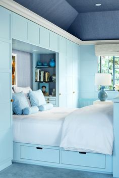 Striped Bedroom Ideas , Striped room decorating ideas are a means to change mood within the room, whether for modern interior design or house staging. Although black and whit. Bedroom Built Ins, Small Room Bedroom, Bedroom Storage, Bedroom Wall, Bedroom Decor, Tiny Bedrooms, Bedroom Ideas, Small Rooms, Storage Beds