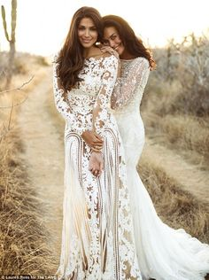 Here come the... brides:  Megan Gale and Pia Miller model bridal wear in an unearthed shoo...
