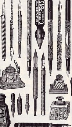 Creative Sketchbook: The Bookshelf: Victorian Goods and Merchandise by Carol Belanger Grafton Vintage Pens, Vintage Labels, Vintage Ephemera, Pen Tattoo, Pen Illustration, Calligraphy Pens, Vector Art, Retro, Sketches