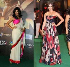 Chitrangada at the IIFA, 2012. Love that sari.