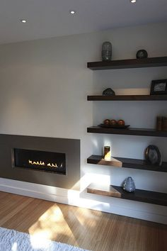 Modern fireplace by Steve Kuhl, via Flickr Shelves beside our fireplace in living room?