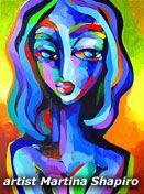 Blue Woman Abstract original painting by artist Martina Shapiro contemporary fine art portrait