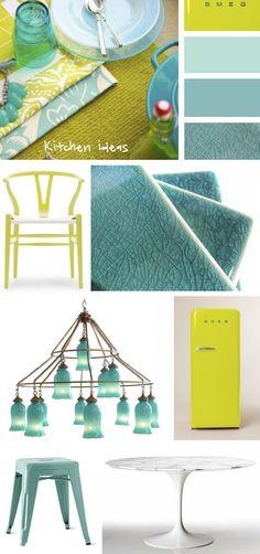 Design under development: Turquoise and Chartreuse Kitchen - from our blog post:  http://www.eatsleepbreatheinteriordesign.com Kristina Crestin Design