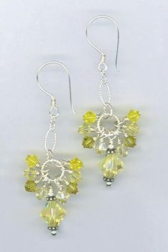 Cascade Cluster Jonquil Swarovski Crystal Sterling Silver Earrings by Melinda Jernigan from MP Designs Jewelry #yellow #summer
