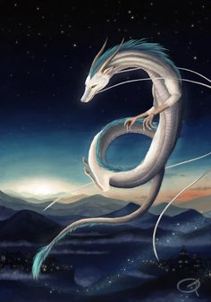 Haku fanart by on DeviantArt Mythical Creatures Art, Magical Creatures, Dragon Oriental, Chihiro Y Haku, Studio Ghibli Spirited Away, Japon Illustration, Studio Ghibli Art, Fantasy Beasts, Dragon Artwork