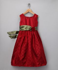 Would be such a cute Christmas Dress!!  Castro Red & Green Rose Dress - Toddler by C.I. Castro #zulilyfinds