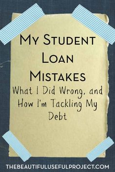 Loans- Oh boy, I've made a lot of mistakes when it comes to student loan debt. Read all about my stupidity, and see what I'm doing to pay my loans off. Paying Off Student Loans, Student Loan Debt, Graduate Student Loans, Financial Literacy, Financial Tips, Timmy Time, Budgeting Finances, Graduate School, School Loans