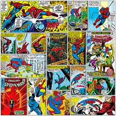 iCanvas Marvel Comic Book Spider-Man Covers and Panels Square Gallery Wrapped Canvas Art Print by Marvel Comics Marvel Comic Books, Marvel Dc Comics, Marvel Heroes, Superhero Classroom, Superhero Room, Marvel Cards, Iron Man Captain America, Amazing Spiderman, Comic Book Covers