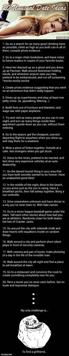 Challenge Accepted: 20 Unusual But Awesome Date Ideas - 9GAG