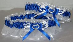 Royal Blue and White Wedding Prom Garter Set with Rhinestone Hearts   eBay