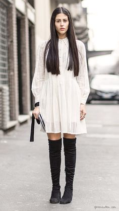 Over the knee boots, spring boots, street style / Garance Doré