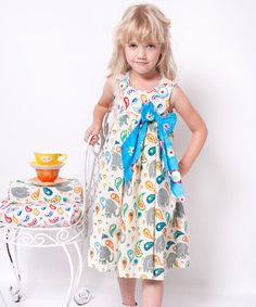 Take a look at this White & Teal Elle Bow Dress - Infant, Toddler & Girls by Jelly the Pug on #zulily today!