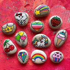 Hand painted stone art and story stones for kids by MagicStonesArtShop Kids Party Decorations, Kid Party Favors, Pebble Painting, Stone Painting, Rock Crafts, Arts And Crafts, Posca, Story Stones, Mandala Rocks