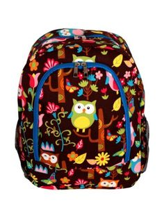$13.75 Owl Give a Hoot Large Backpack with Turquoise Trim
