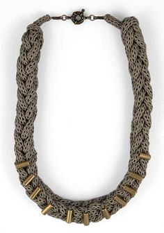Knitted necklace! Free pattern for coiled necklace.