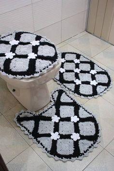 jogo de banheiro preto e cinza