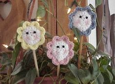 Cutie Trio Plant Pokes | AllFreeCrochet.com
