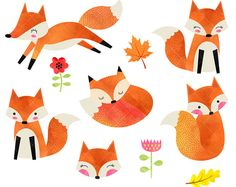 Watercolor Fox Clipart / Cute Foxes Clipart / Watercolor Woodland Clipart / Fox Illustration