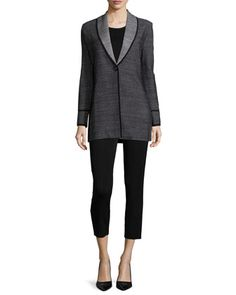 Textured One-Button Jacket, Sleeveless Long Tank & Slim Ankle Pants by Misook at Neiman Marcus.